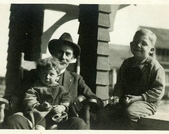 "Vintage Photo ""Devoted Father"" Snapshot Antique Photo Old Black & White Photograph Found Paper Ephemera Vernacular - 160"