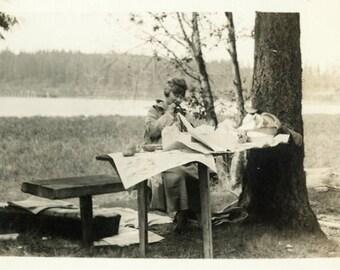 "Vintage Photo ""The Woodland Picnic"" Snapshot Photo Old Antique Photo Black & White Photograph Found Photo Paper Ephemera Vernacular - 140"