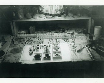 "Vintage Photo ""Jewelry Maker's Shop"" Home Interior Snapshot Photo Old Antique Black & White Photograph Found Paper Ephemera Vernacular - 167"