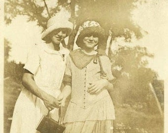 "Vintage Photo ""Flapper Friends"" Two Teen Girls Snapshot Old Antique Photo Black & White Photograph Found Paper Ephemera Vernacular - 207"