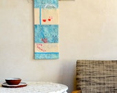 Reserved for K only Original Embroidery Art Wall Hanging in Coral Red & Sea Blue Rain Underwater Theme