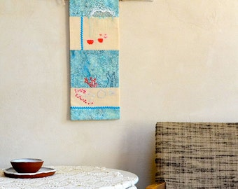 Original Embroidery Art Wall Hanging in Coral Red & Sea Blue Rain Underwater Theme