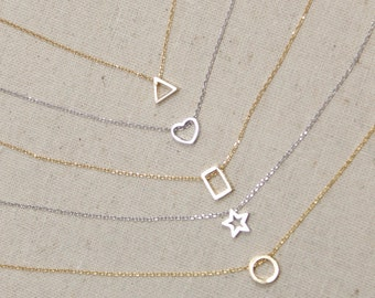 SUMMER SALE Geometric Shaped Necklace, Outline, Open, You Choose Color and Style, Minimalist, Layering, Tiny, Heart, Star
