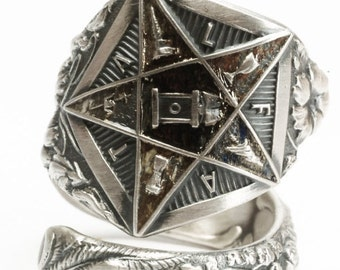 OES Ring, Sterling Silver Spoon Ring, Order of the Eastern Star, Masonic Ring, OES Gift, Lily Lilies, Bible Ring FATAL, Adjustable Ring 6021