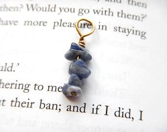 Rustic Dusty Blue Sodalite Dangle - Brass Wire / Small DELICATE Simple Jewelry Unisex Design, Medium Blue Color, Earthy Minimalist Pendant