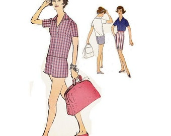 1950s Vogue Shirt and Shorts Pattern, Regulation Shorts, V Neckline, Bust 38 , Size 18, Vogue 9480, Womens Vintage Sewing Pattern