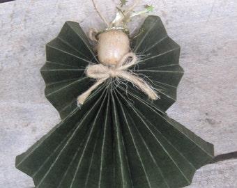 "Green Holiday Angel, Tree Ornament, Primitive Angel Ornament, Secret Santa, Angel Collector, Paper Angel, 4 1/2"" Small Angel SnowNoseCrafts"