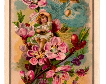 The Flower Angels Victorian Antique Chromo Litho 1881 - Vintage Mixed Media, Collage, Art Journal, Assemblage, Scrapbookng Supplies