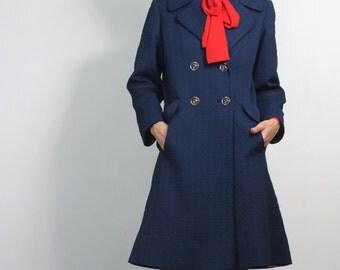 SALE Vintage 60s Coat Navy Blue