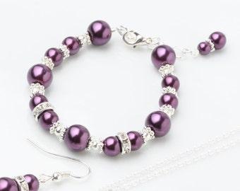 Plum Flower girl bracelet, deep purple Plum pearl girl bracelet, Plum wedding bracelet, Plum flower girl jewelry, Plum flower girl gift