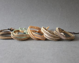 2 Layered Braided Leather Bracelet with Vintage Style Metal Decorated (Ivory, Green, Black)