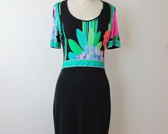 Leonard of Paris Silk Jersey Floral Dress