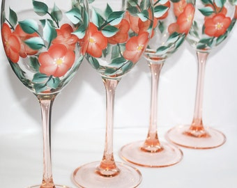 Hand Painted Wine Glasses, Peach Flowers