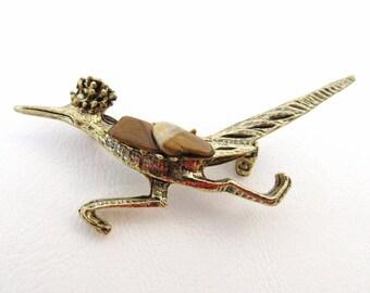 Mid Century Roadrunner Pin, Tiger Eye Jewelry, Road Runner Brooch, Brown Stones