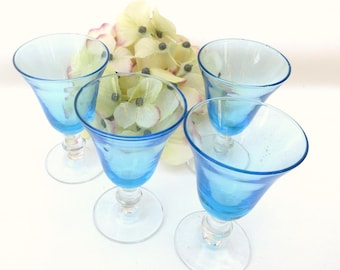 Vintage Barware | Sherry Glasses | Turquoise Glasses | Coupe Glasses | Cordial Glasses | Set of 4