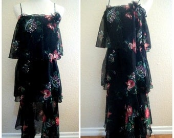 Vintage 70s Dress Boho Floral Flapper Ruffles Tiered Layers Chiffon Party Dress / Holiday Dress 2 Pc Maxi Skirt 36 bust