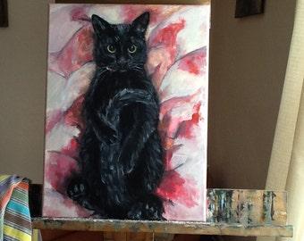 Original Custom Pet Portrait in Acrylic by Melloizes cat kitty kitten
