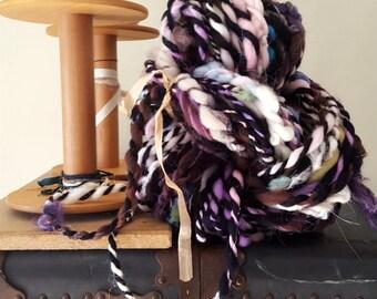 Super Bulky Art Yarn Black Rainbow Wavey Boucle thick n thin wool silk sparkle warm soft knitting supplies crochet supplies fiber arts