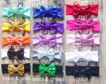 Baby Sequin Headband - Any Colors You Choose - Mix & Match - Unique  - Choose 2 - Ready To Ship - Glitter Headband - Bling headband