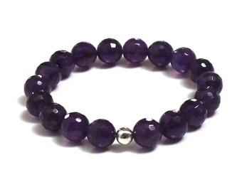 Amazing Purple Amethysts Beaded Bracelet, Crown Chakra Yoga Mala Bracelet, Bridal Shower, Birthday, Wedding Anniversary Gift for her