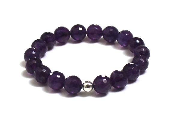 Amazing Deep Purple Amethyst February Birthstone Bracelet Jewelry Chakra Yoga Mala Bracelet Birthday Wedding Gift for Her From Mom  Daughter
