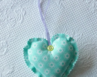 Pastel Blue Fabric Heart Ornament Easter Shabby Chic Small Flowers europeanstreetteam