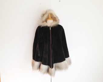 1960s  faux fur hooded cape in dark mahogany brown with off white faux fur trim