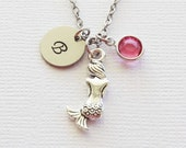 Mermaid Necklace Nautical Ocean Sea Summer Spring Sailor Gift Jewelry Swarovski Birthstone Silver Initial Personalized Monogram Hand Stamped