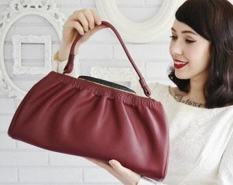 Vintage NOS Burgundy Leather Handbag with Black Plastic Clasp