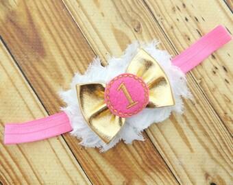 Gold #1 headband - Pink #1 headband - Pink first headband - Gold first headband - Gold pink first headband - Light pink first headband -