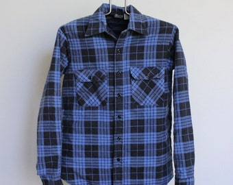 Vintage Plaid Shirt // Quilted Flannel Mens Medium // Insulated Camp Shirt Jacket Blue Plaid JC Penney