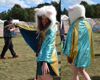 made to order SEQUIN CAPE stretchy