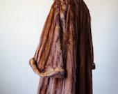 1940s vintage coat / marmot fur coat with huge bell sleeves