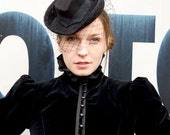 Black Victorian Riding Hat Inspired Felt Winter Hat With Veil