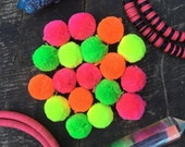 """NEON Luxe Pom Poms with Loops for Jewelry, Bulk, 1"""" Designer Jewelry Making Charms, Summer Fall Fashion Trend, Cotton, Handmade, In Pairs"""
