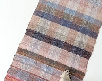 vintage Swedish rag rug, 1920s floor runner, 14 ft 8 inches