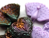 PEACOCK SOAP, Set of 6, New Orleans Mardi Gras -Peacocks & Hearts, Purple, Green, Gold, and Lavender, Scented in Blackberry Sage
