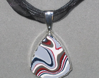 New Fordite Sterling Silver Pendant