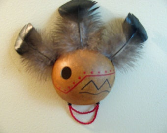 Small Gourd Mask Wall Hanging Handmade OOAK