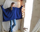 Poncho Wool Sweater in Royal Blue.  XXL size . Cowel Neck. Extra Large Oversweater. FREE SHIPPING