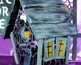 Halloween Spooky Birdhouse - Full Size -  Use indoors or out. One of a kind.