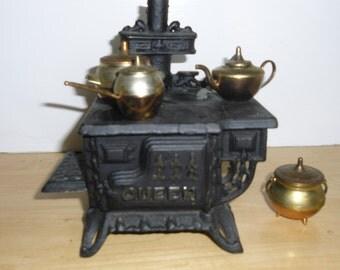 Vintage Miniature Stove - Queen Cast Iron Stove, 4 Copper and Brass Cooking Pieces, Tea Kettle, Cauldron, Handled Pot, Large Pot