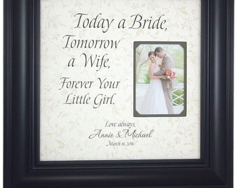 Wedding Gift For Parents, Mother of the bride, Thank you, Father of the Bride, Mom and Dad, Wedding Frame, TODAY A BRIDE, 16 X 16