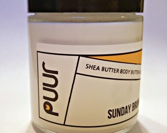 Shea Butter Body Butter Sunday Brunch Blueberry scented Moisturizing Body Lotion VEGAN Raw Shea Butter Paraben Free Hand Cream 4oz glass jar