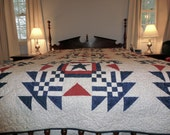 """Americana Red, White, and Blue Queen Size Quilt 87"""" X 90"""" Handmade in New England"""