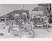 Sun Baked Beach Beauties- 1950s Vintage Photograph- Atlantic City, NJ- Women in Swimsuits- Bathing Suits- Found Photo- Paper Ephemera