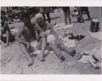 Sand Between Our Toes- 1950s Vintage Photograph- 50s Swimsuits- Couple at Beach- Bathing Suit Snapshot- Found Photo- Paper Ephemera