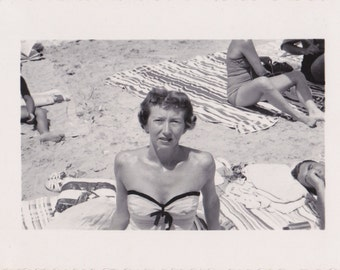 Sun Like a Blowtorch- 1950s Vintage Photographs- SET of 2- Beach Photos- 50s Swimsuits- Vacation Snapshots- Found Photo- Paper Ephemera