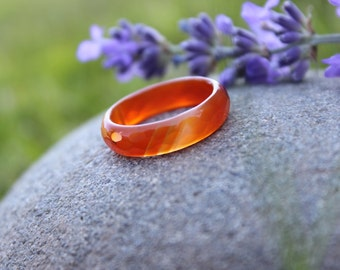 Carnelian Agate Ring Faceted Vintage