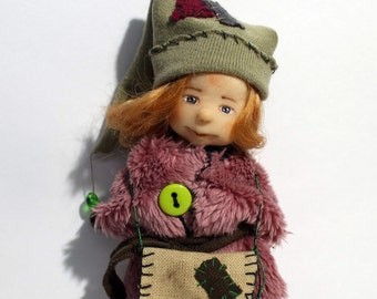 Handmade Miniature Dollhouse Gnome Girl OOAK 12th Scale